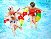 Prismacolors Drawings Posters - Pool Poster by Beth Saffer