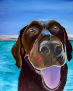Dog Paintings - Pool Boy by Roger Wedegis