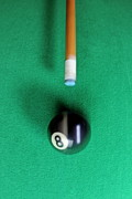 Cue Ball Posters - Pool cue striking black Eight ball Poster by Sami Sarkis