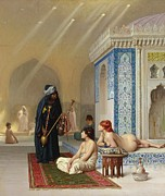 Turban Framed Prints - Pool in a Harem Framed Print by Jean Leon Gerome