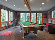 Ball Room Posters - Pool Table In Family Game Room. Sofas Poster by Bryan Mullennix