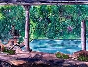 Roman Columns Painting Prints - Poolside Print by Frank SantAgata