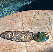 Glass Table Reflection Prints - Poolside Print by Irma BACKELANT GALLERIES