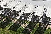 Lawn Chair Metal Prints - Poolside Metal Print by Lauri Novak