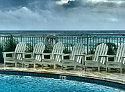 Panama City Beach Prints - Poolside with a View Print by Julie Dant