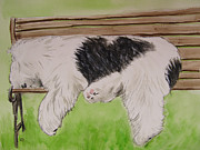 Sheepdog Paintings - Pooped in the park by Carol Blackhurst