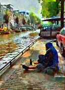 Old Town Digital Art Prints - Poor in Amsterdam Print by Yury Malkov