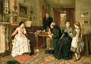 Family Time Painting Framed Prints - Poor Relations Framed Print by George Goodwin Kilburne
