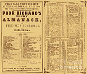 Poor Richard Framed Prints - Poor Richards Penny Almanack, 1852 Framed Print by Photo Researchers