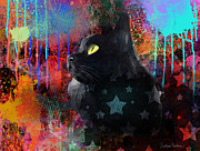 Funny Mixed Media Metal Prints - Pop Art Black Cat painting print Metal Print by Svetlana Novikova