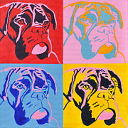 Boxer Portrait Paintings - Pop Art Boxer Dog by Louise Charles-Saarikoski