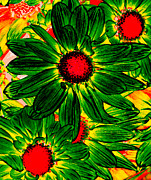 Daisy Prints - Pop Art Daisies 16 Print by Amy Vangsgard