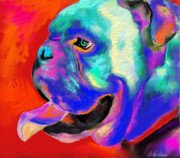 Puppy Drawings Framed Prints - Pop Art English Bulldog painting prints Framed Print by Svetlana Novikova