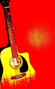 Artistic Photo Originals - Pop Art Guitar in Red by Sophie Vigneault