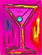 Bistro Paintings - Pop Art Martini  Pink Neon Series 1989 by Sidra Myers