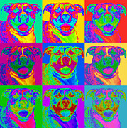 Op Art Digital Art Posters - Pop Art Pitbull Poster by Renae Frankz