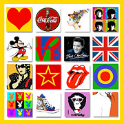 Rolling Stones Mixed Media Metal Prints - Pop Art Poster 01 Metal Print by Maria Szollosi