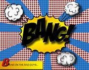 Comic Digital Art Posters - Pop BANG Poster by Suzanne Barber