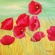 Poppies Field Paintings - Pop Pop Poppies by Rivkah Singh