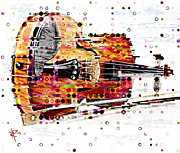 Chin Mixed Media Posters - Pop Violin Poster by Russell Pierce