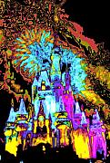 Disney World Digital Art Originals - PopArt Castle by Charles  Ridgway