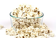Glass Bowl Posters - Popcorn in glass bowl Poster by Blink Images