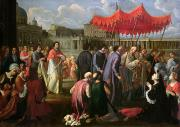 Knelt Painting Posters - Pope Clement XI in a Procession in St. Peters Square in Rome Poster by Pier Leone Ghezzi