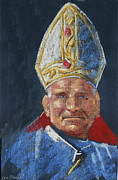 American Artist Paintings - Pope John Paul 11 by Len Stomski