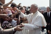 Popes Prints - Pope John Paul Ii Greets A Crowd Print by James L. Stanfield