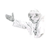 Leader Drawings - Pope John Paul II by Linda Bissett