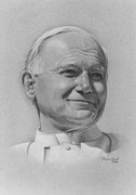 Photorealism Pastels Prints - Pope John Paul II Print by Nanybel Salazar