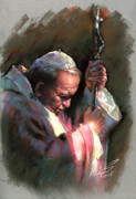 Celebrity Pastels Framed Prints - Pope John Paul II Framed Print by Ylli Haruni