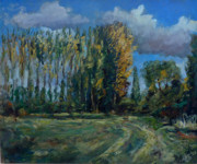 Autumn Colours Paintings - Poplars at Freith by Andrew Taylor
