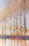 Reflection Of Trees Paintings - Poplars on the Banks of the Epte by Claude Monet
