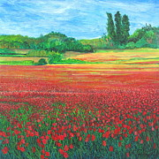 Poppies Field Painting Originals - Poppies 2 by Pamela Iris Harden