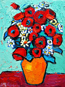 Textures And Colors Painting Prints - Poppies And Daisies Bouquet Print by Ana Maria Edulescu