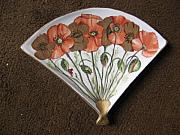 Music Ceramics Originals - Poppies and gold by Fleurlise