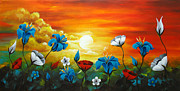 Landscape Framed Prints Painting Prints - Poppies and Iris Print by Uma Devi