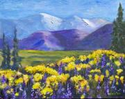 Snowy Trees Paintings - Poppies and Lupines by Jamie Frier
