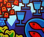Wine Glasses Paintings - Poppies Apples Wine And Fish by John  Nolan