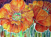 Marcia Baldwin Framed Prints - Poppies Batik Abstract Framed Print by Marcia Baldwin