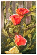 Slat Originals - Poppies by the Fence by B Rossitto