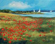 Boats In Water Paintings - Poppies By The Sea-SOLD by Torrie Smiley