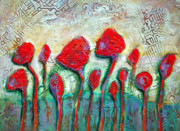 Oil Mixed Media Originals - Poppies by Claudia Fuenzalida Johns