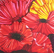 Red Glass Art Originals - Poppies fantasy by Gabriela Stavar