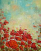 Poppies Field Paintings - Poppies Field by Mirjana Gotovac