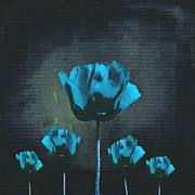 Black Digital Art - Poppies Fun 01 - Bb by Variance Collections