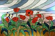Picture Glass Art Originals - Poppies by Greg Gierlowski