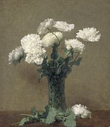 White Glass Posters - Poppies Poster by Ignace Henri Jean Fantin-Latour