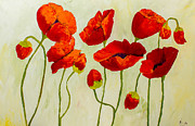 Pallet Knife Prints - Poppies III Print by Isabella Talbot-Imber